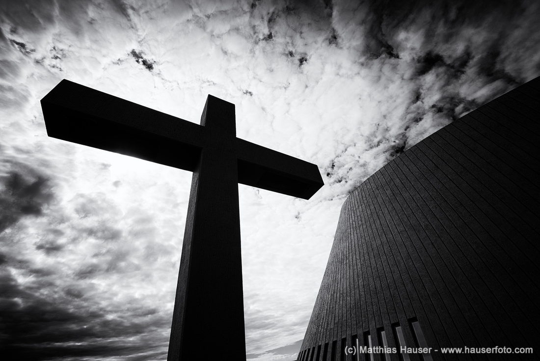 Cross and church Bloenduos Iceland black and white
