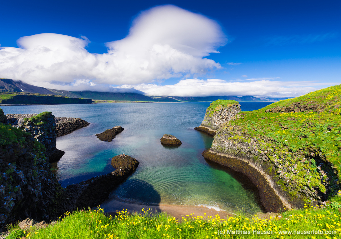 Snaefellsnes Iceland coast green yellow and blue colors