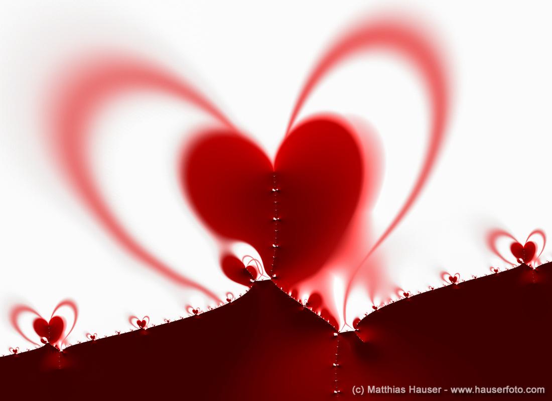 Fraktal mit roten Herzen Fractal with red hearts