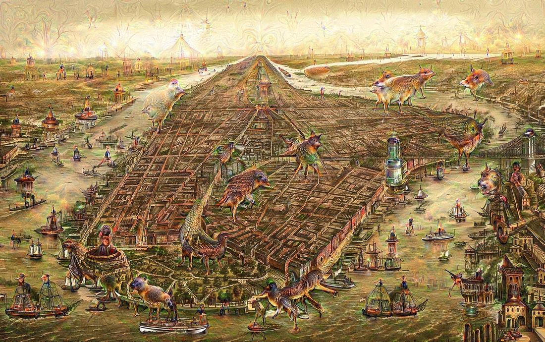 New York Manhattan map Google Deep Dream