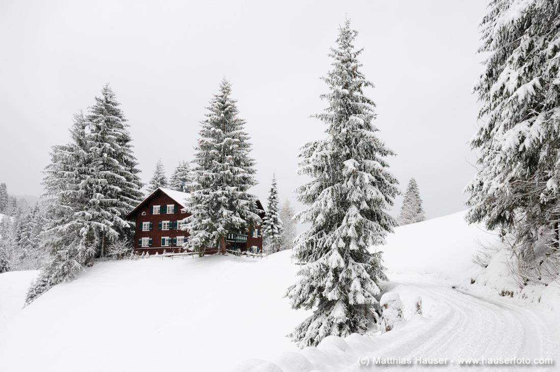 Idyllische Winterlandschaft im Kleinwalsertal, Vorarlberg, Österreich, Europa