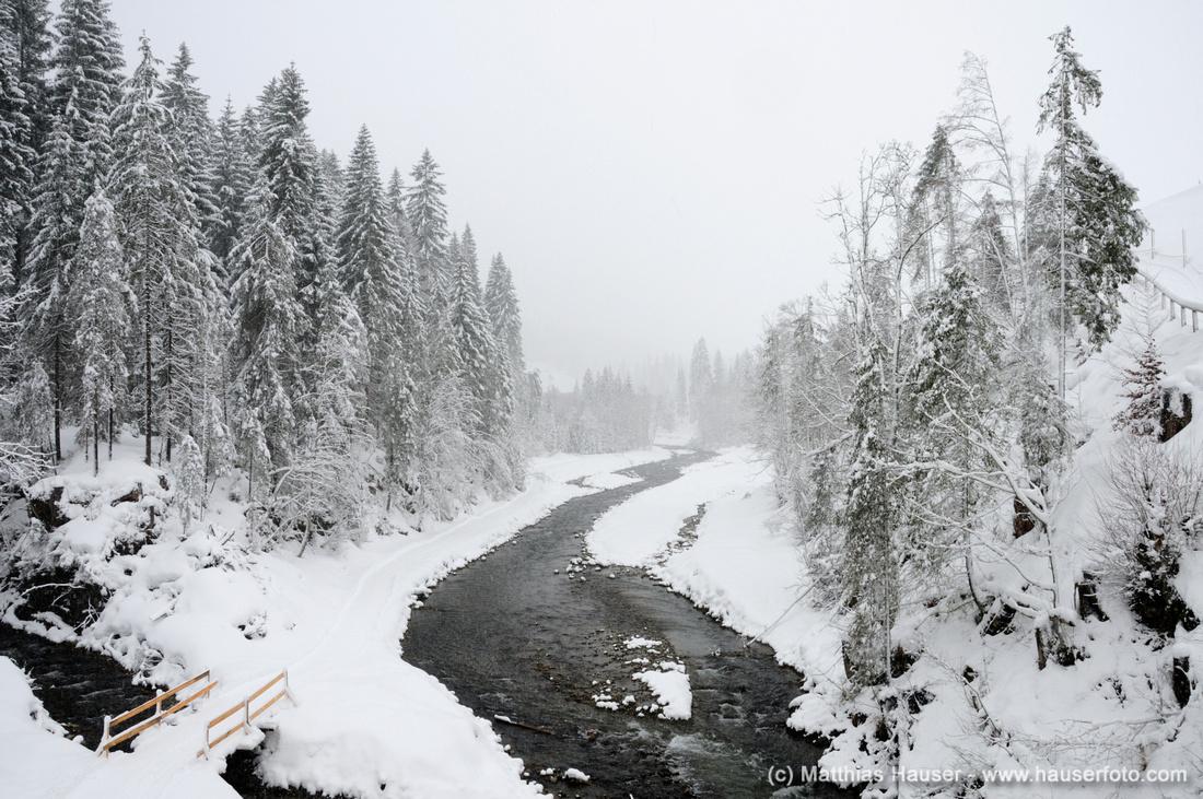 Fluss Bärgunt und schneebedeckte Bäume im Winter, Kleinwalsertal, Österreich, Europa