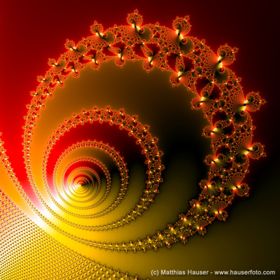 Decorative fractal spiral red and yellow