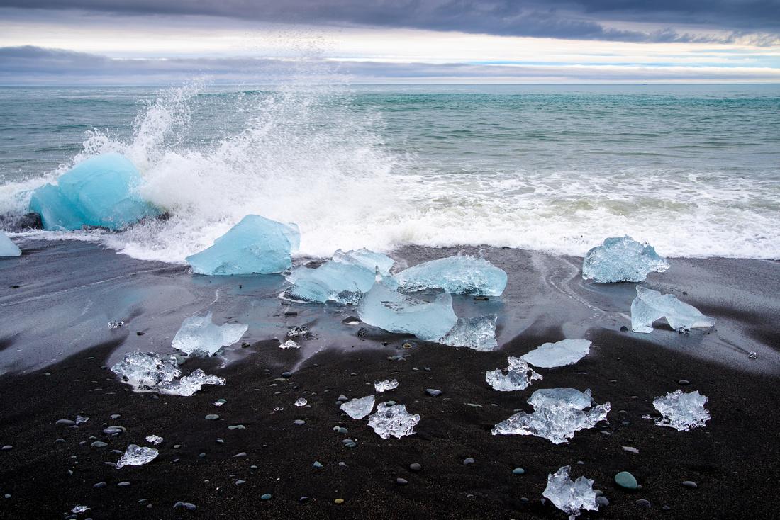 Blue ice and black beach Jökulsárlón Iceland