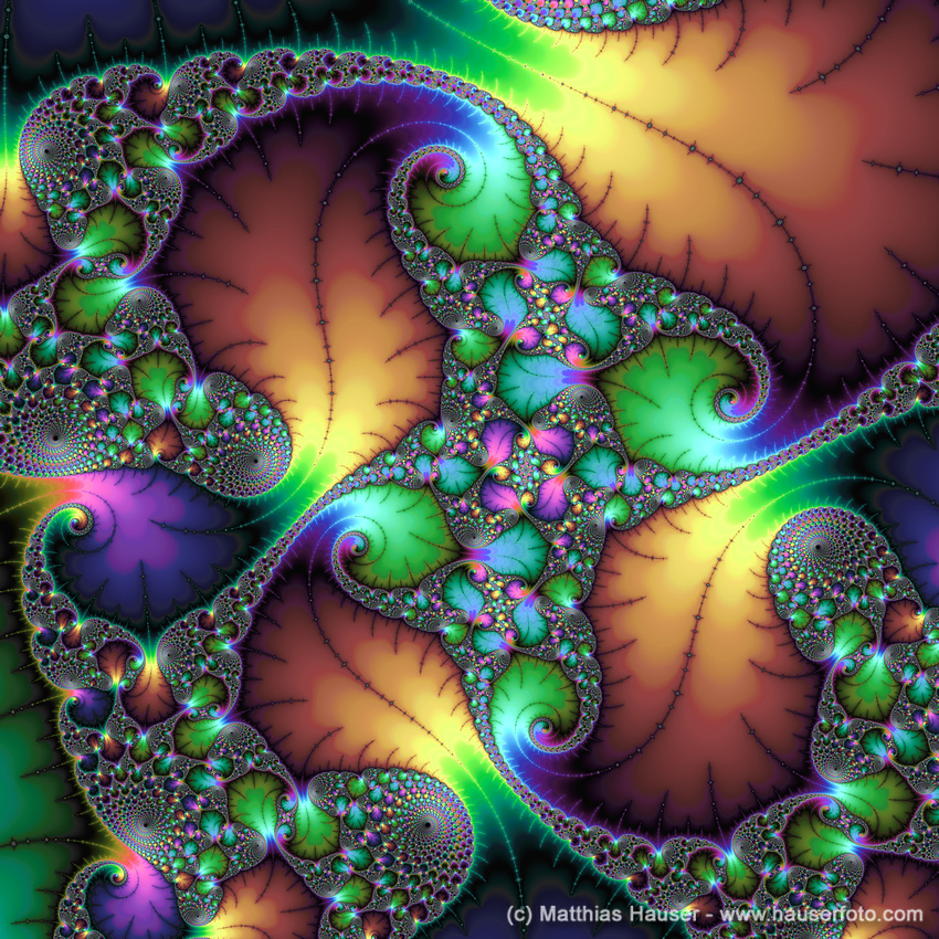 Fractal with jewel tones green purple gold