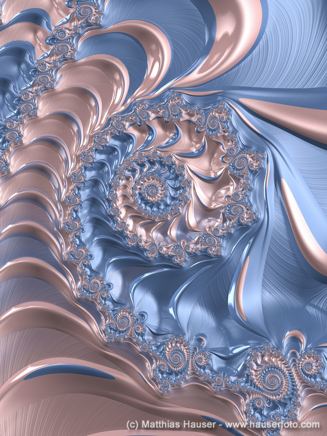 Fractal spiral art Rose Quartz and Serenity