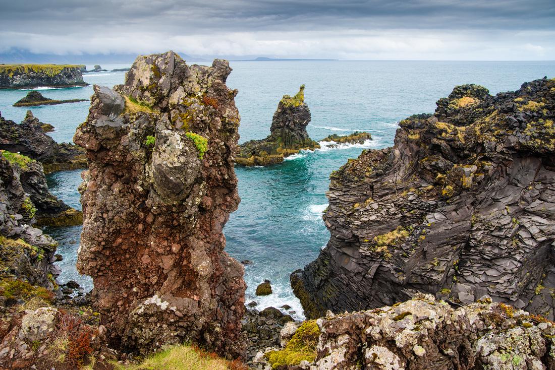 Bizarre cliffs and rocks Arnarstapi Snaefellsnes coast Iceland