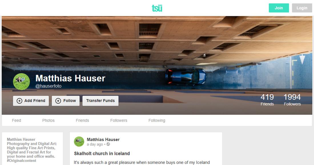 Screenshot soziales Netzwerk tsu User Matthias Hauser