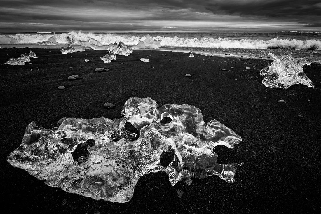 Ice on black beach Jokulsarlon Iceland Europe