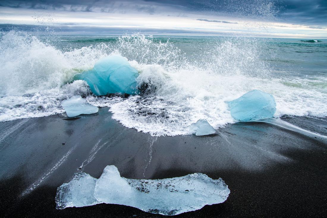 Icebergs on the black beach Jokulsarlon Iceland Europe