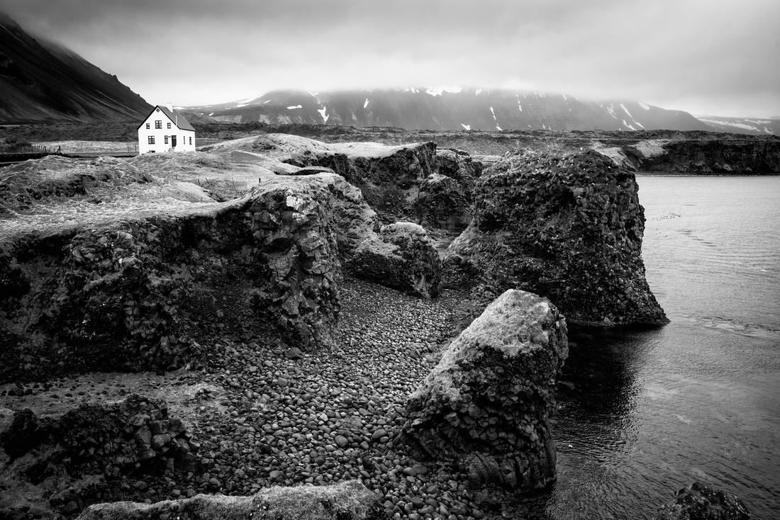Arnarstapi coast Snaefellsnes black and white