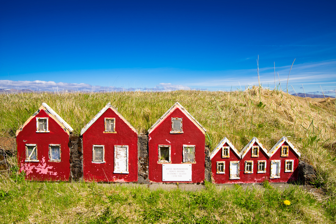 Red elf houses Reykjanes Iceland