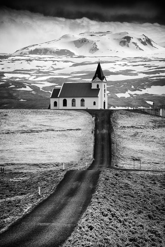 Ingjaldsholl Church Iceland black and white