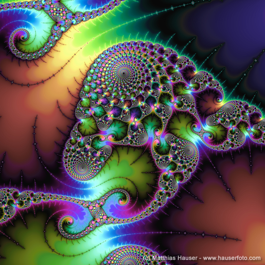 Fractal Art with golden green and purple tones