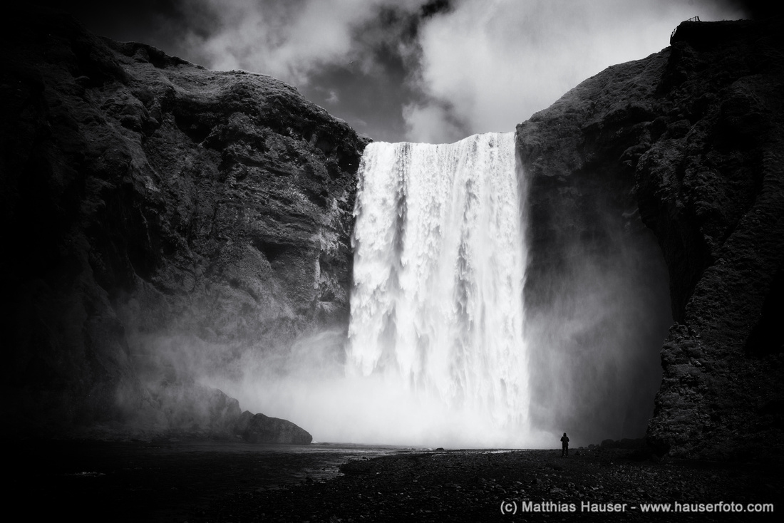 Waterfall Skogafoss Iceland black and white