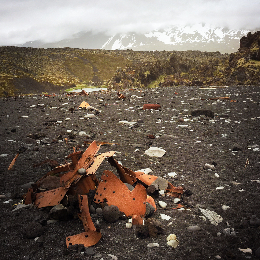 Rests of a shipwreck on a beach Dritvik Iceland