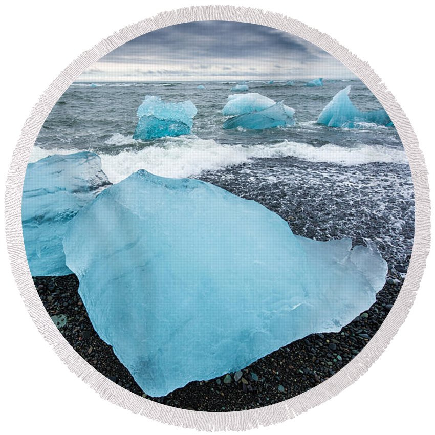 Ice in Iceland Round Beach Towel
