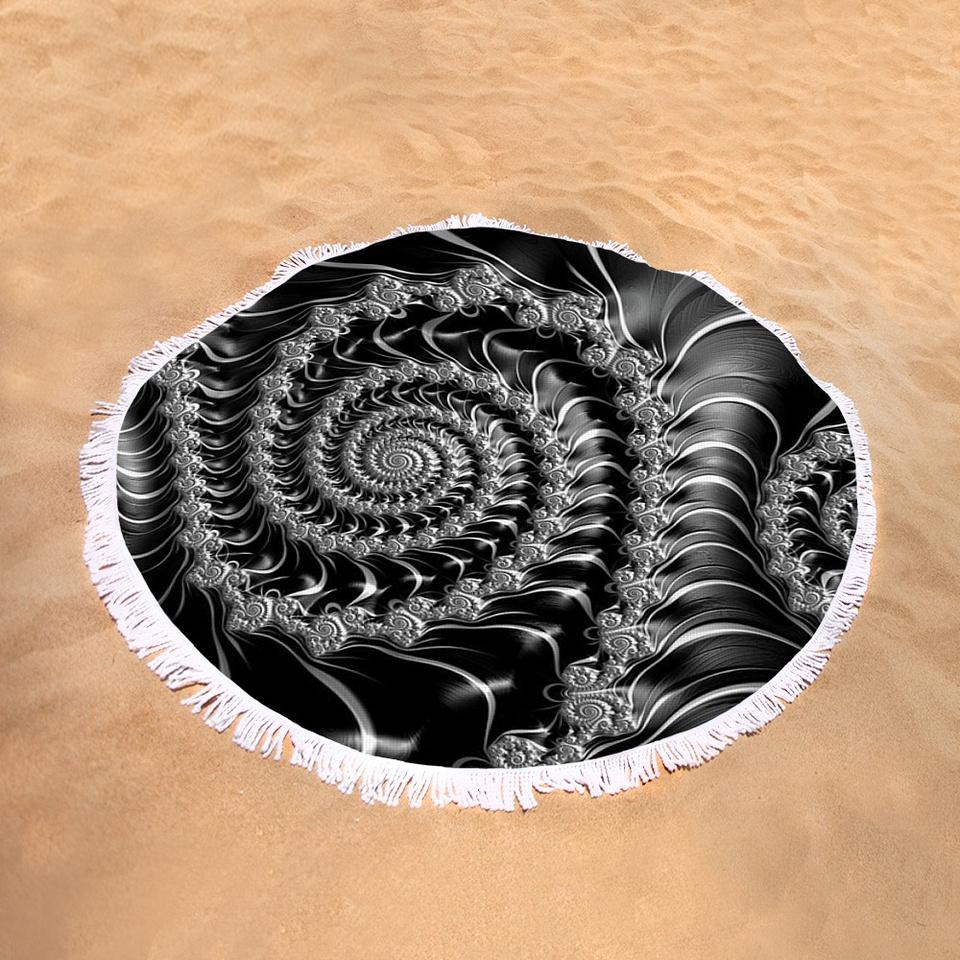 Round beach towel black fractal spiral