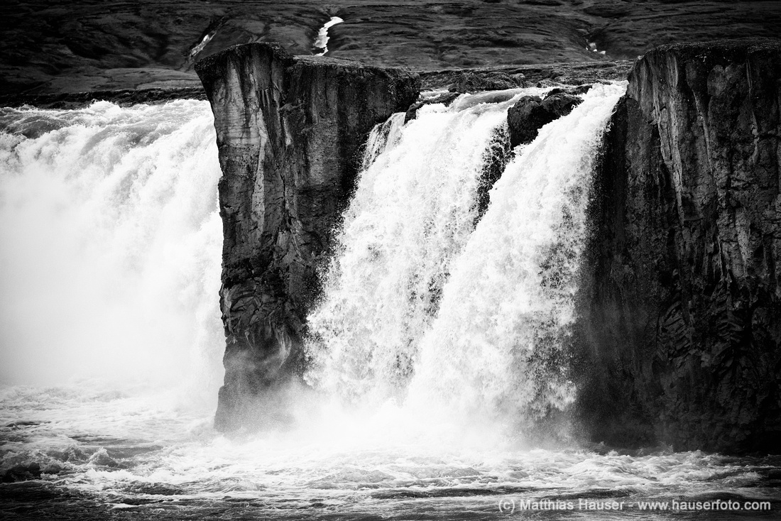Iceland Godafoss waterfall black and white