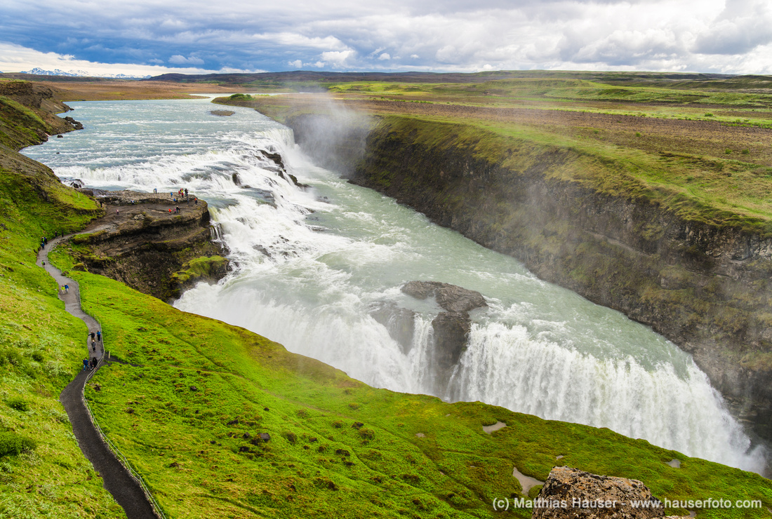 Wasserfall Gullfoss Island - Waterfall Gullfoss Iceland