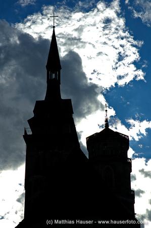 Silhouette Umriss der Stiftskirche Stuttgart, Baden-Württemberg, Deutschland