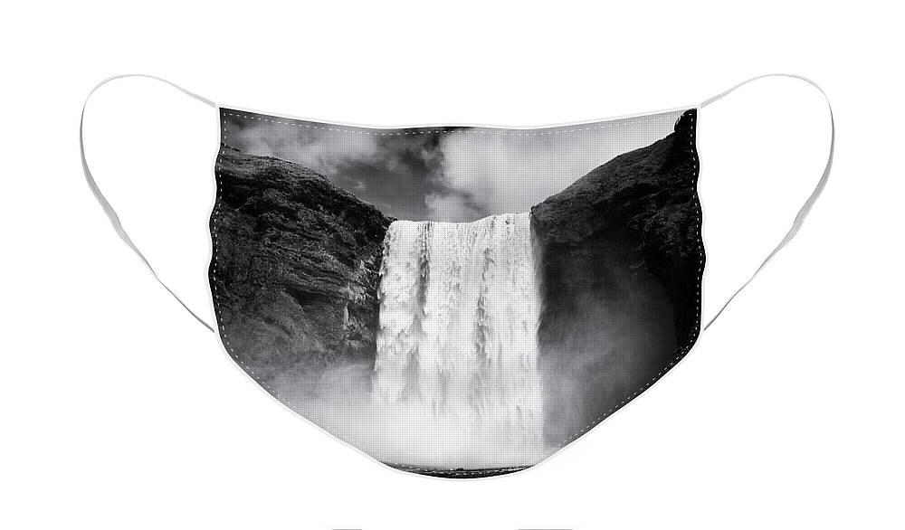 Skogafoss waterfall Iceland Designer Face Mask