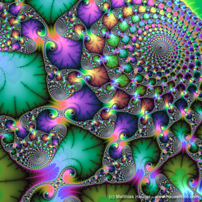 Fractal Art with jewel colors square format