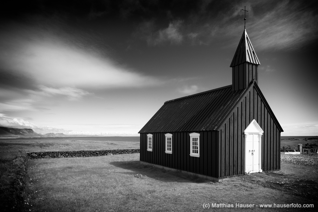 Budir church in Iceland black and white fine art photography