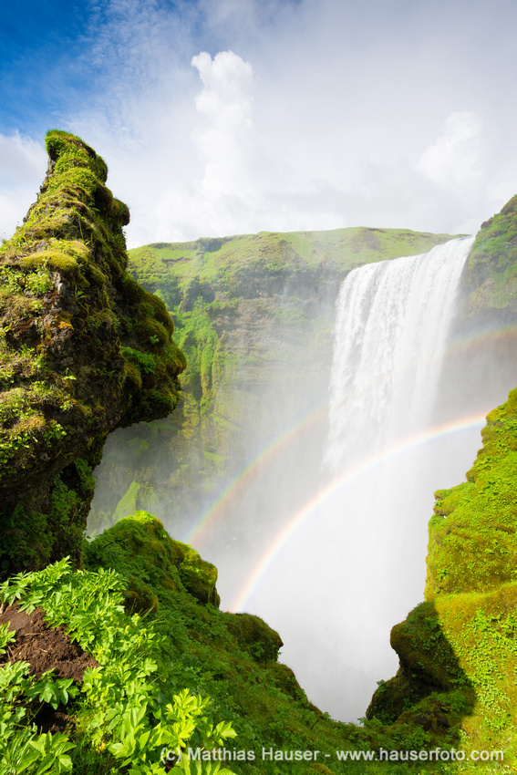 Skogafoss waterfall Iceland with double rainbow