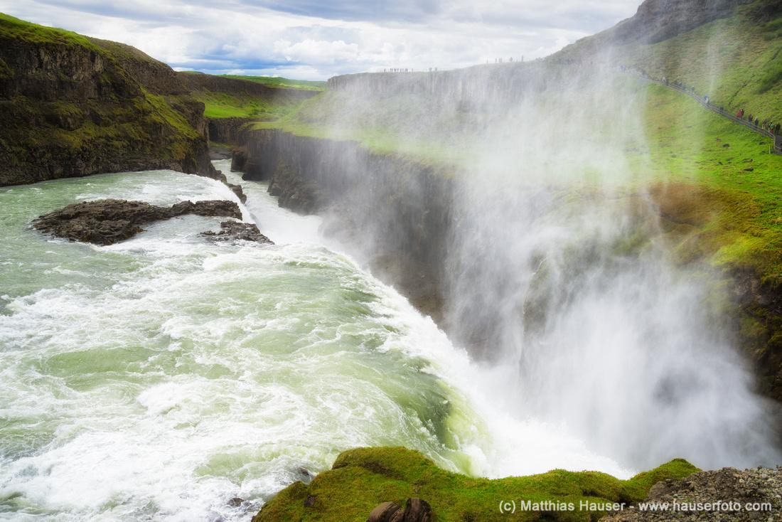 Gullfoss Wasserfall Island - Waterfall Gullfoss south Iceland