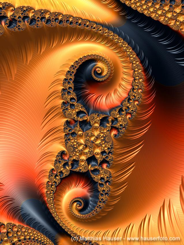 Fractal Spirals with warm orange and red tones.