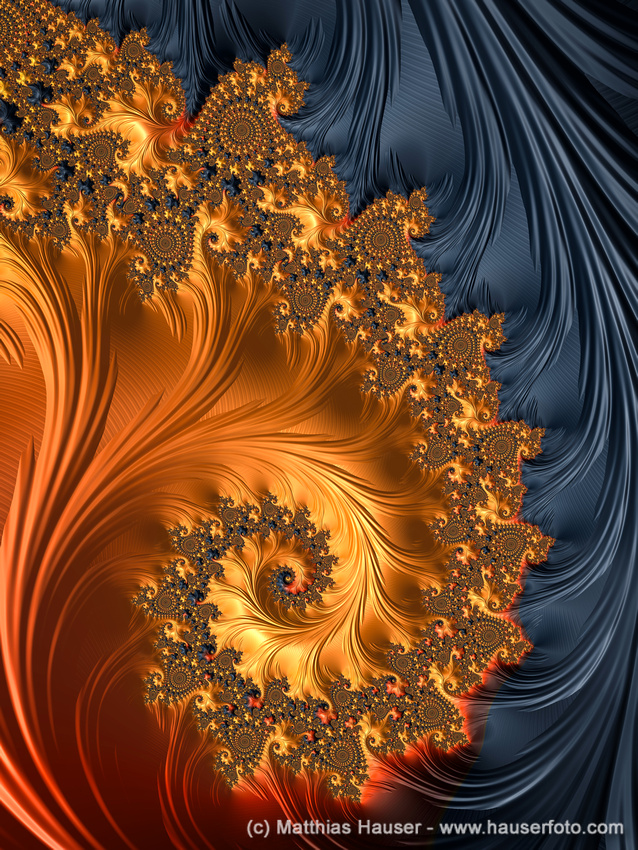 Luxe Fractal Spiral with warm orange and red tones