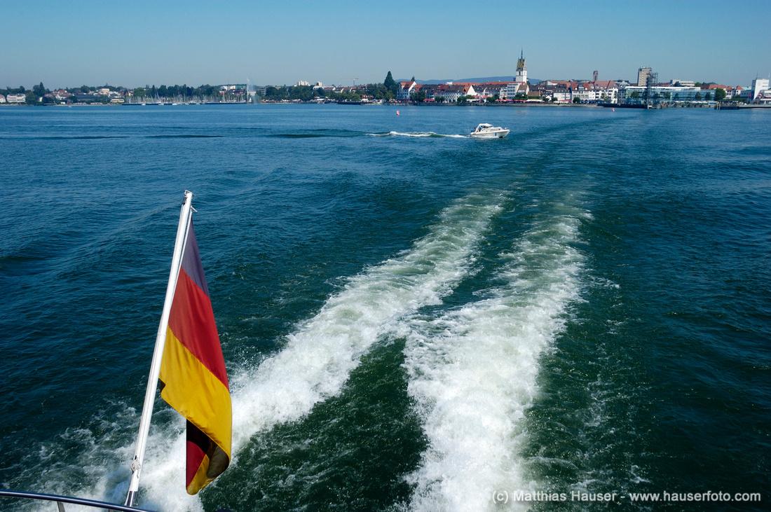 Friedrichshafen und Bodensee vom Schiff aus, Deutschland - Friedrichshafen, Lake Constance, Baden-Wuerttemberg, Germany, Europe