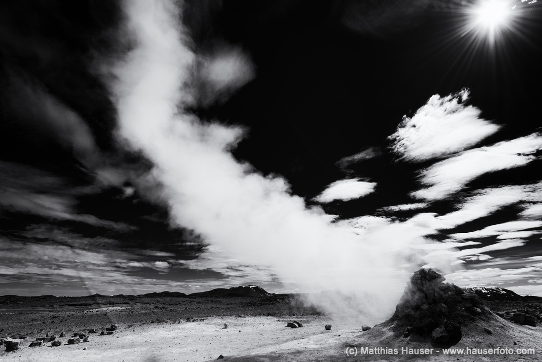 Geothermal area Hverir Namaskard North Iceland in black and white
