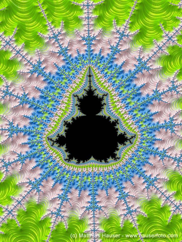 Mandelbrot Set Fractal Art black pink blue green