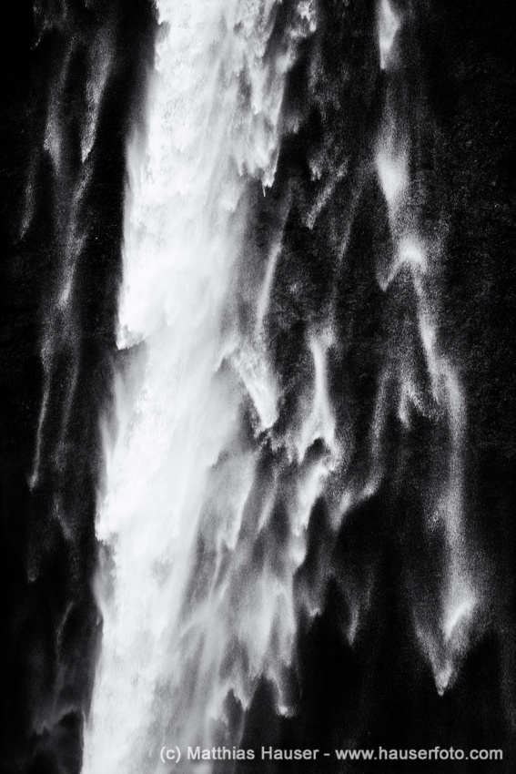 Waterfall closeup in Iceland black and white