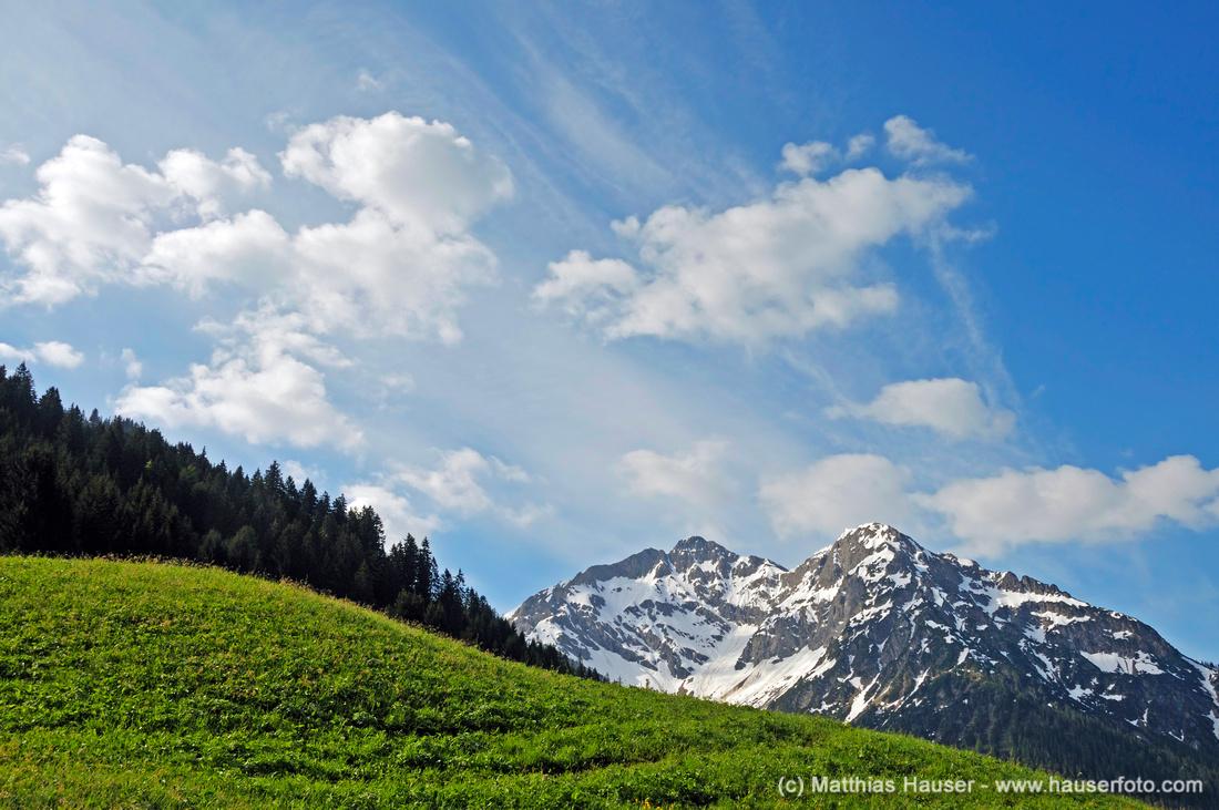 Wiese, Wald, Berg und blauer Himmel - Bergfrühling im kleinen Walsertal