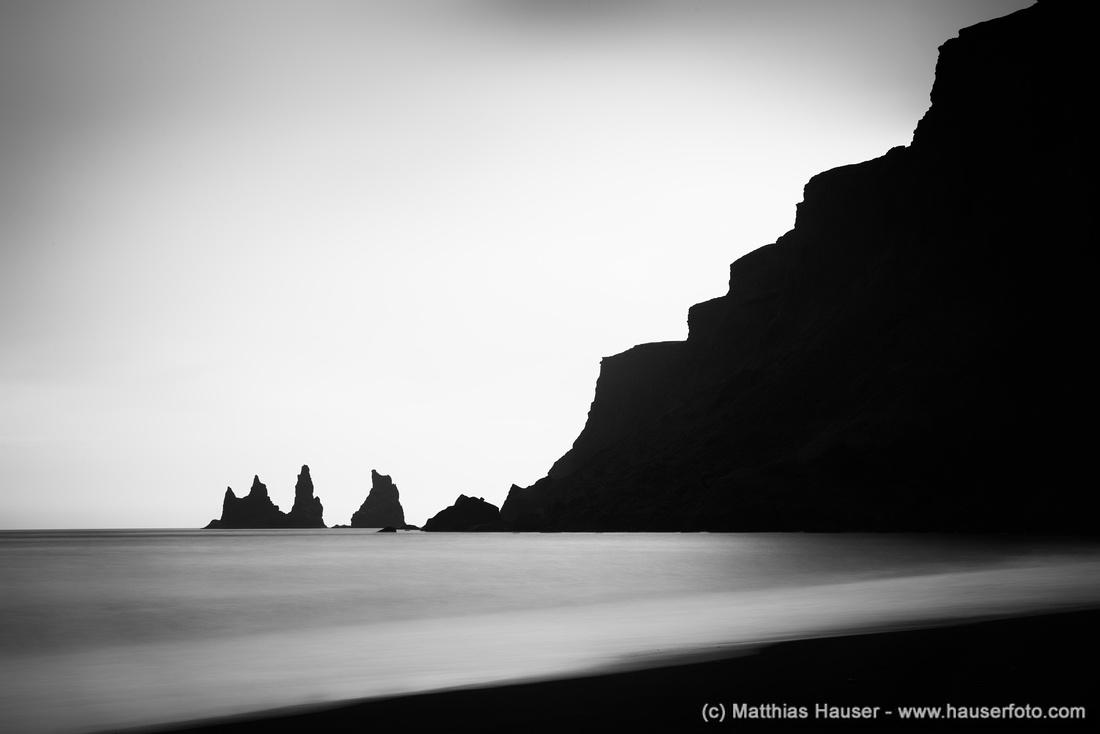 Vik Reynisdrangar Iceland black and white photo