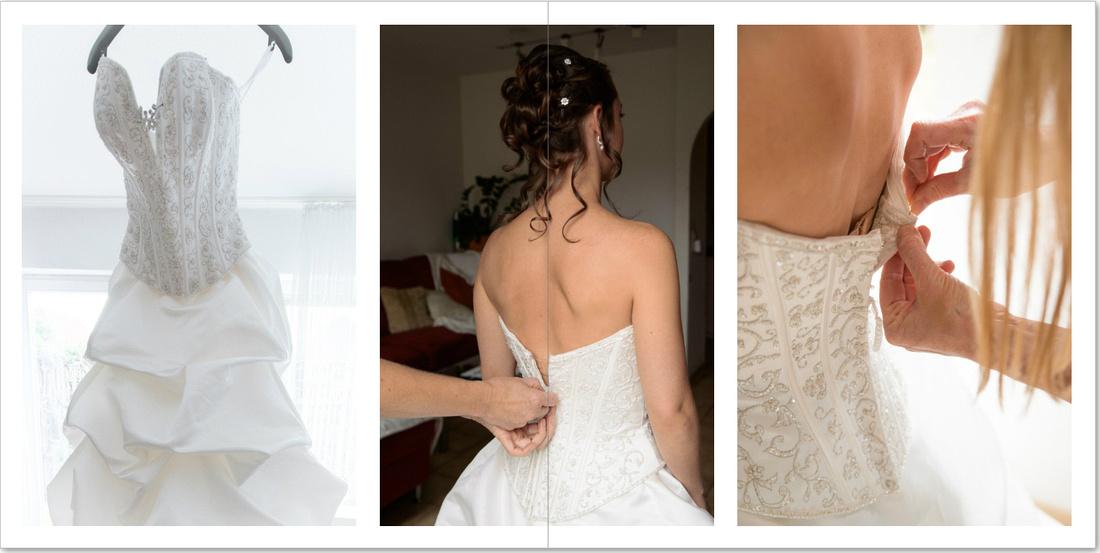 Braut beim Ankleiden, Hochzeitskleid. Doppelseite aus einem Album. Hochzeitsfotograf Matthias Hauser.