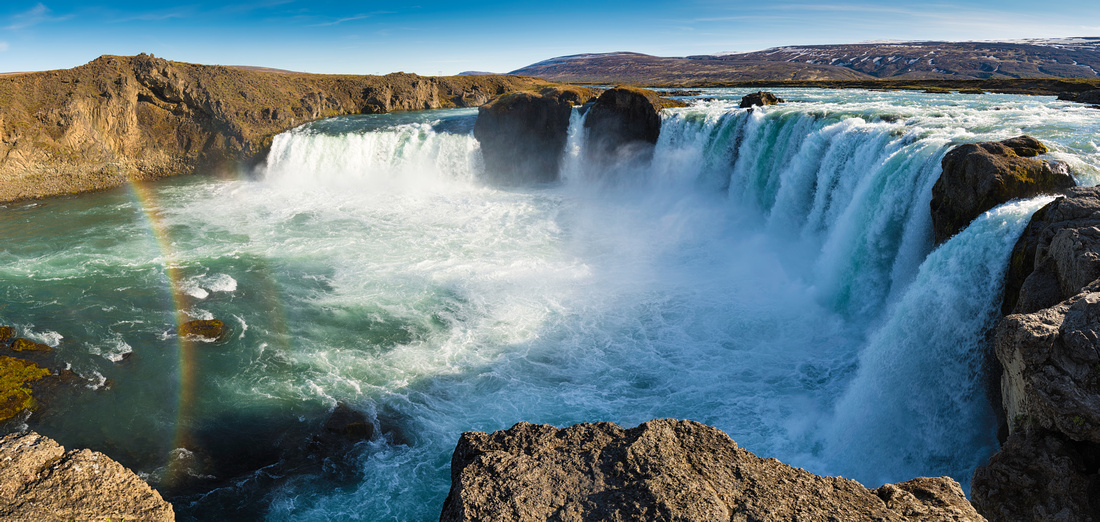 Godafoss waterfall in Iceland Panorama Format