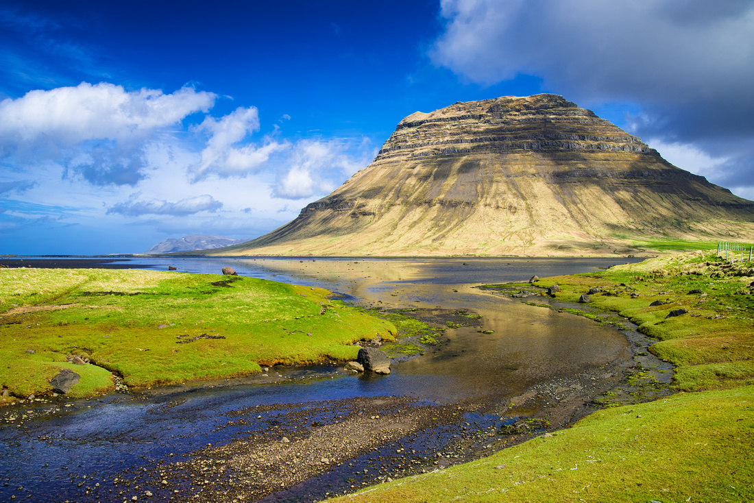 Summer landscape green and blue Snaefellsnes Iceland
