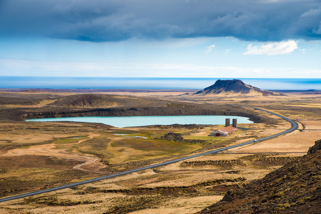 Road and landscape in Reykjanes Iceland Europe