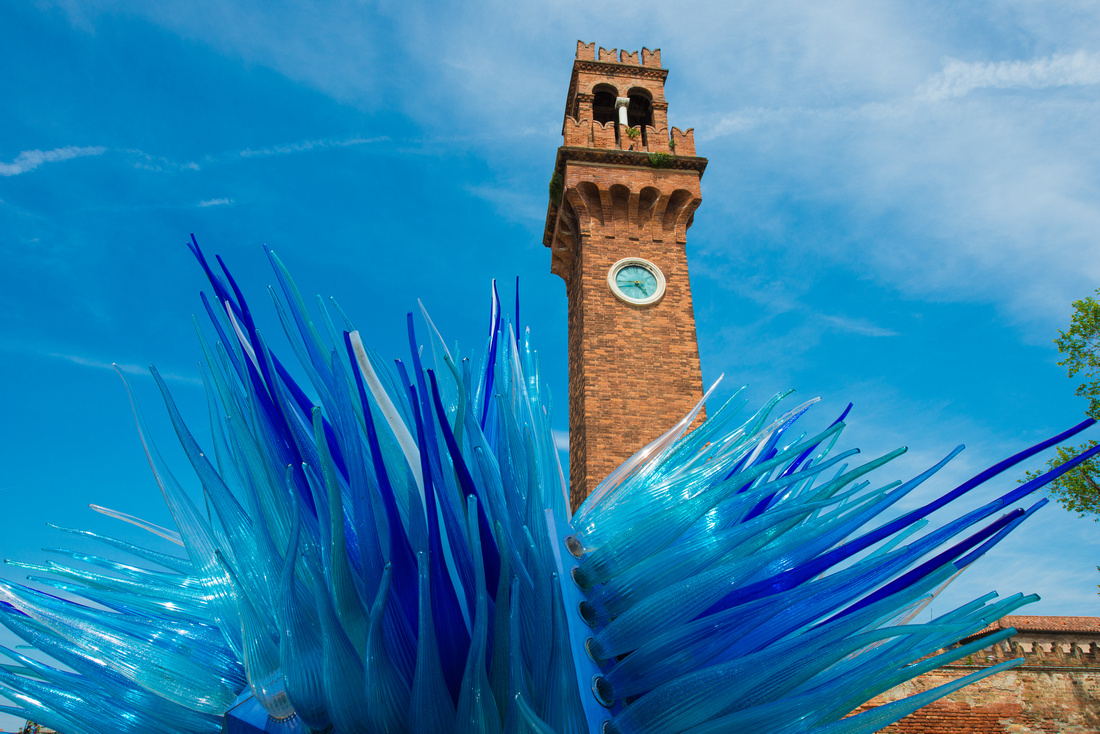 Blue artwork made of Murano glass in Murano Venice