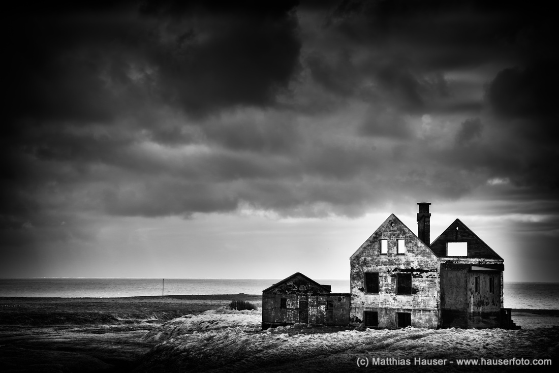 Abandoned house in Iceland black and white
