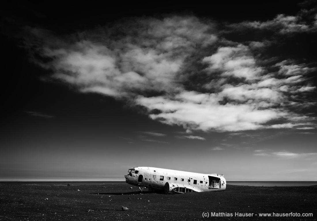 Plane wreck in Iceland black and white Fine Art Photography