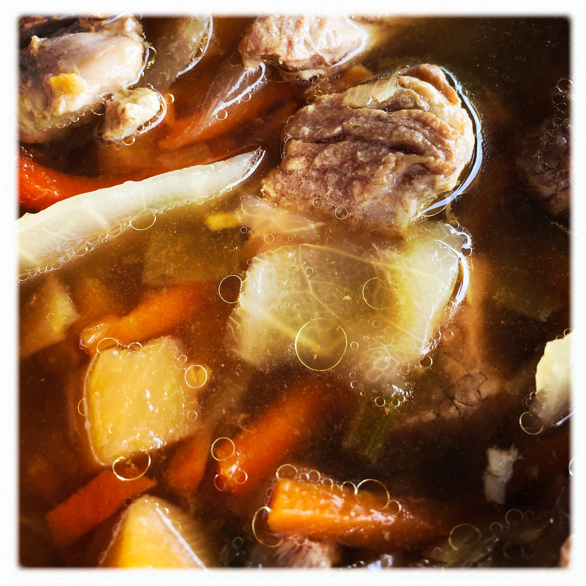 Icelandic meat soup closeup