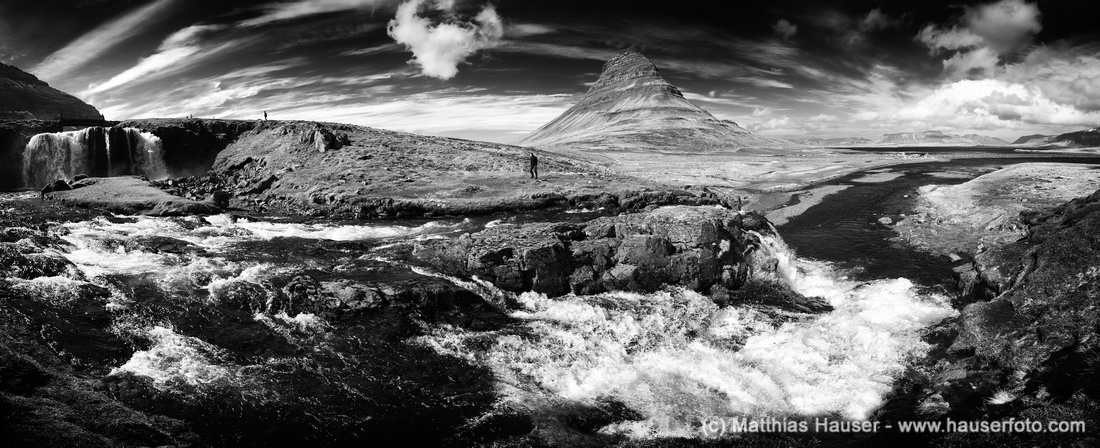 Kirkjufell and Kirkjufellsfoss Iceland black and white panorama photo