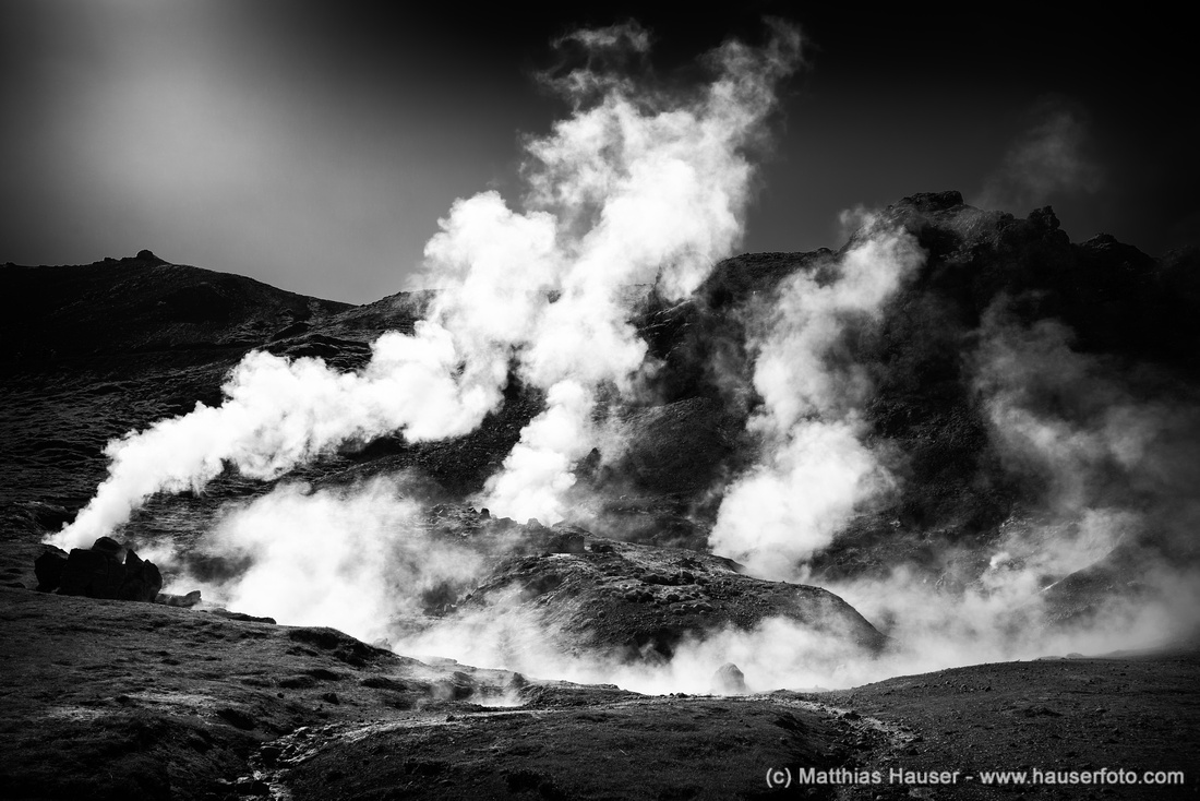 Steaming hot springs in iceland black and white print with stark contrast