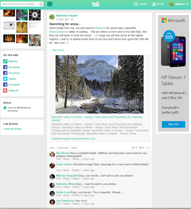 Tsu Pinnwand - Screenshot