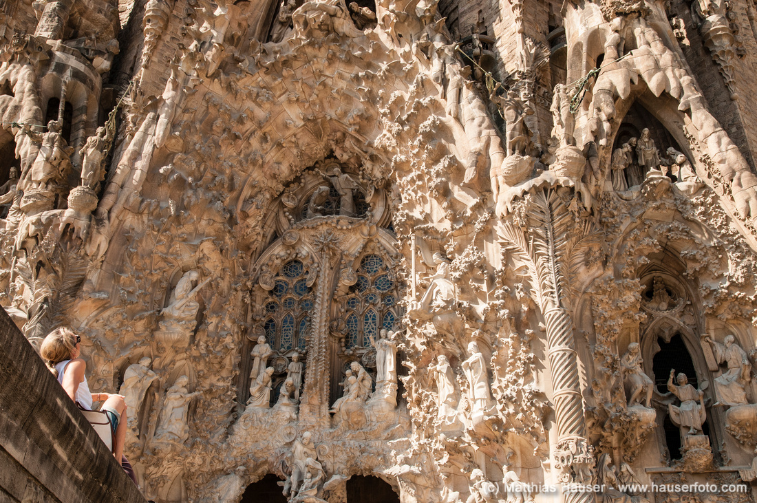Sagrada Familia in Barcelona, Detail der Geburtsfassade